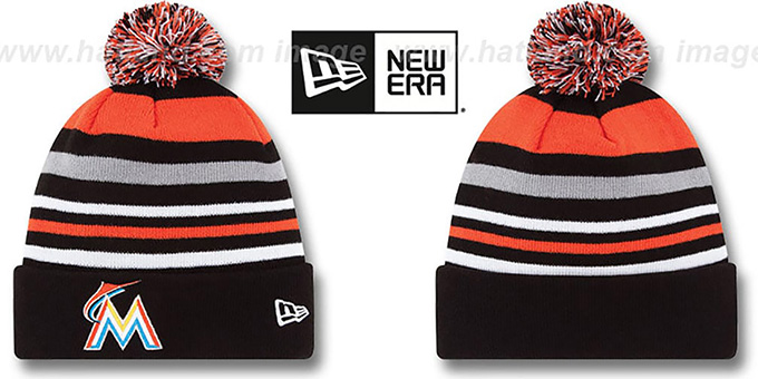 Marlins 'STRIPEOUT' Knit Beanie Hat by New Era : pictured without stickers that these products are shipped with
