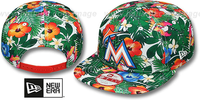 Marlins 'SUNSHINE BLOOM SNAPBACK' Hat by New Era : pictured without stickers that these products are shipped with