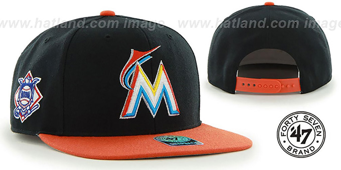 Marlins 'SURE-SHOT SNAPBACK' Black-Orange Hat by Twins 47 Brand : pictured without stickers that these products are shipped with
