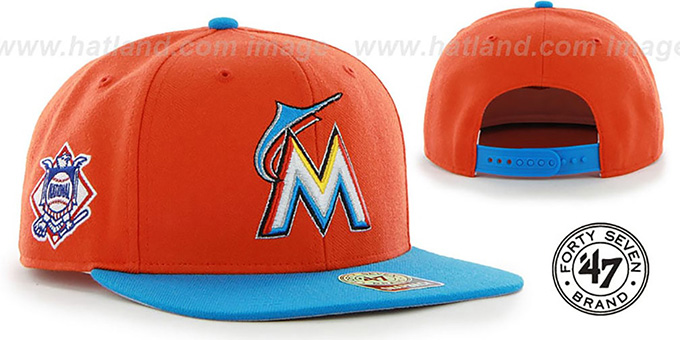 Marlins 'SURE-SHOT SNAPBACK' Orange-Blue Hat by Twins 47 Brand : pictured without stickers that these products are shipped with