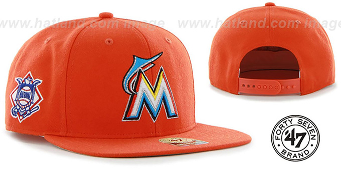 Marlins 'SURE-SHOT SNAPBACK' Orange Hat by Twins 47 Brand : pictured without stickers that these products are shipped with