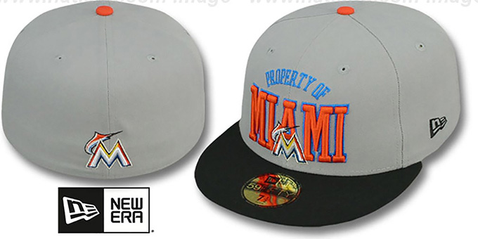 Marlins 'TEAM-PRIDE' Grey-Black Fitted Hat by New Era : pictured without stickers that these products are shipped with