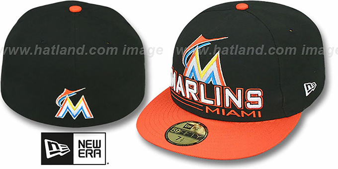 Marlins 'TECH MARK' Black-Orange Fitted Hat by New Era : pictured without stickers that these products are shipped with