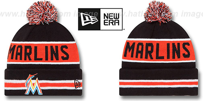 Marlins 'THE-COACH' Black Knit Beanie Hat by New Era : pictured without stickers that these products are shipped with