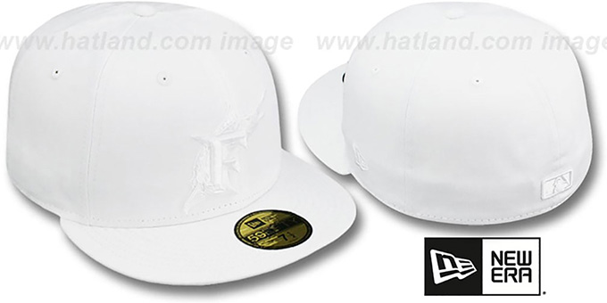 Marlins 'WHITEOUT' Fitted Hat by New Era : pictured without stickers that these products are shipped with