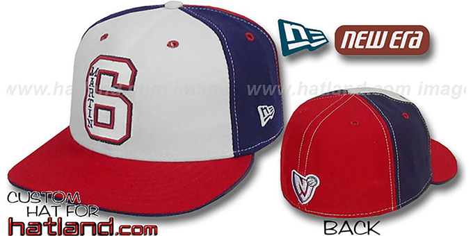 Martin 'PINWHEEL' White-Navy-Red Fitted Hat by New Era : pictured without stickers that these products are shipped with