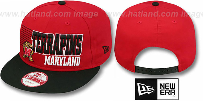 Maryland '2T BORDERLINE SNAPBACK' Red-Black Hat by New Era : pictured without stickers that these products are shipped with