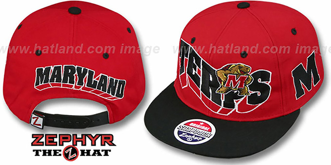 Maryland '2T FLASHBACK SNAPBACK' Red-Black Hat by Zephyr : pictured without stickers that these products are shipped with