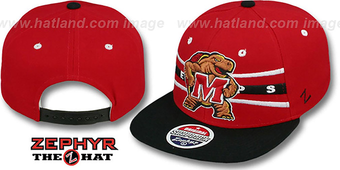Maryland '2T FRONTRUNNER SNAPBACK' Red-Black Hat by Zephyr : pictured without stickers that these products are shipped with