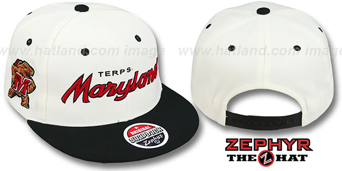 Maryland '2T HEADLINER SNAPBACK' White-Black Hat by Zephyr : pictured without stickers that these products are shipped with