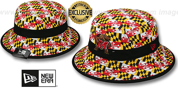 Maryland 'ALL-OVER MARYLAND FLAG BUCKET' Hat by New Era : pictured without stickers that these products are shipped with