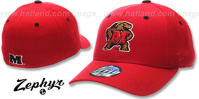Maryland 'DHS' Fitted Hat by Zephyr - red : pictured without stickers that these products are shipped with