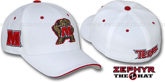 Maryland 'DHS TRIPLE-WHITE 2' Fitted Hat by Zephyr : pictured without stickers that these products are shipped with