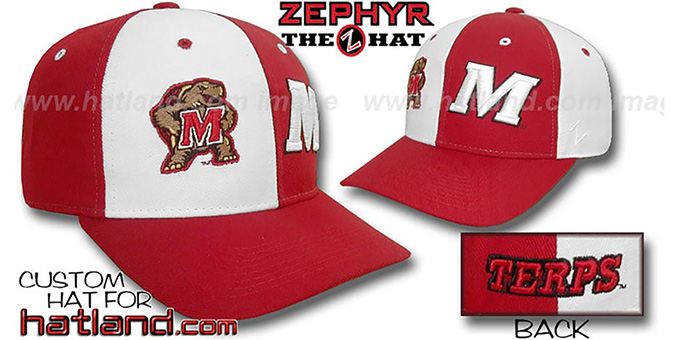 Maryland 'DUAL LOGO' White-Red Fitted Hat by Zephyr : pictured without stickers that these products are shipped with
