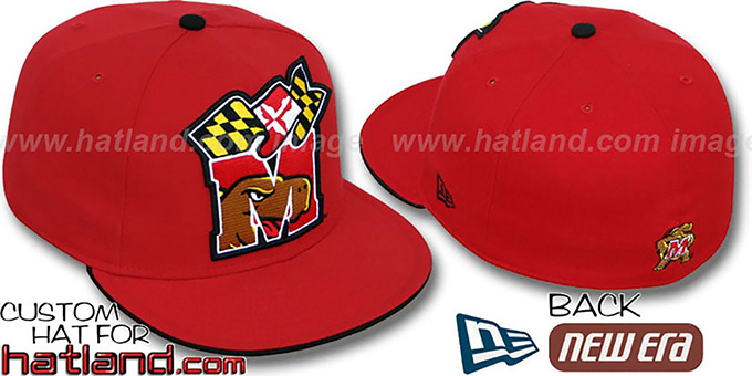 Maryland 'INSIDER BIG-ONE' Red Fitted Hat by New Era : pictured without stickers that these products are shipped with