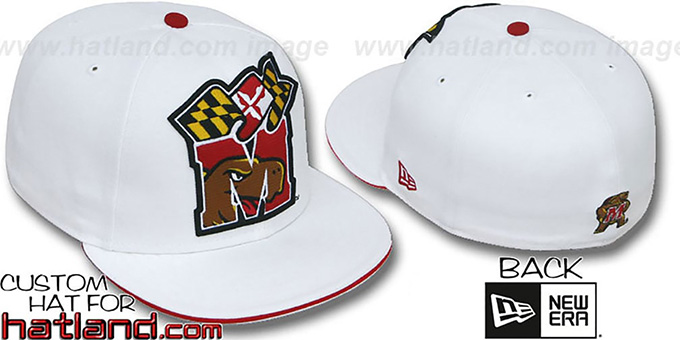 Maryland 'INSIDER BIG-ONE' White Fitted Hat by New Era : pictured without stickers that these products are shipped with