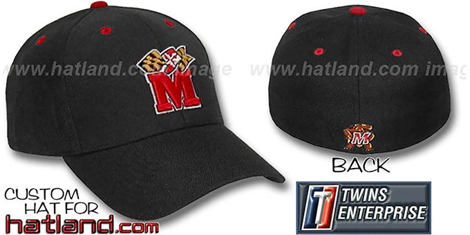 Maryland M-FLAG 'CLOSER' Flex Fitted Hat by Twins - black : pictured without stickers that these products are shipped with