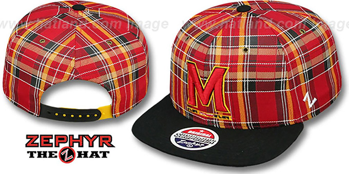 Maryland M 'GAELIC PLAID SNAPBACK' RedBlack Hat by Zephyr : pictured without stickers that these products are shipped with
