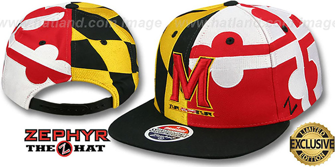 Maryland 'M-SUPER-FLAG SNAPBACK' Hat by Zephyr : pictured without stickers that these products are shipped with