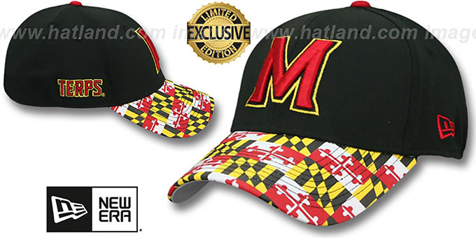 Maryland 'MARYLAND FLAG FLEX' Black-Flag Hat by New Era : pictured without stickers that these products are shipped with