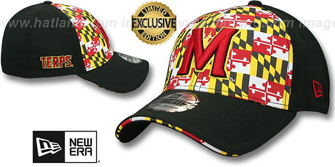 Maryland 'MARYLAND FLAG FLEX' Flag-Black Hat by New Era : pictured without stickers that these products are shipped with