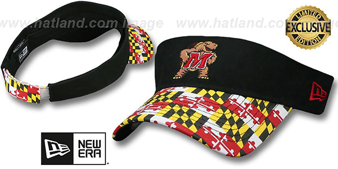 Maryland 'MARYLAND FLAG VISOR' Black-Flag by New Era : pictured without stickers that these products are shipped with