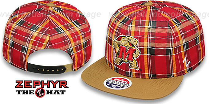 Maryland MASCOT 'GAELIC PLAID SNAPBACK' Red-Khaki Hat by Zephyr : pictured without stickers that these products are shipped with