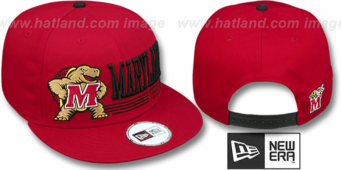 Maryland 'RETRO-SNAPBACK' Red Hat by New Era : pictured without stickers that these products are shipped with
