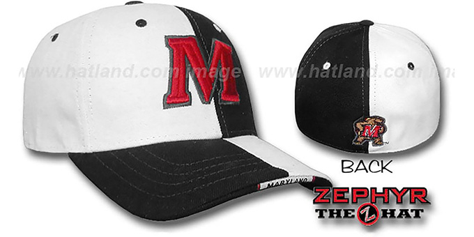 Maryland 'SPLITTER' White-Black Fitted Hat by Zephyr : pictured without stickers that these products are shipped with