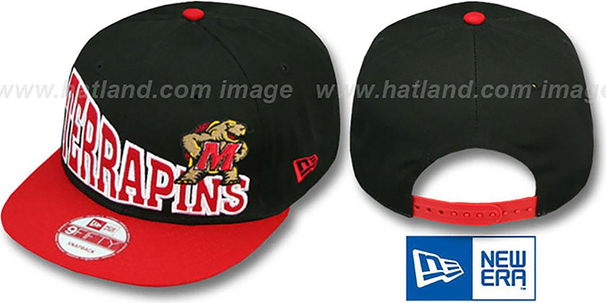 Maryland 'STOKED SNAPBACK' Black-Red Hat by New Era : pictured without stickers that these products are shipped with