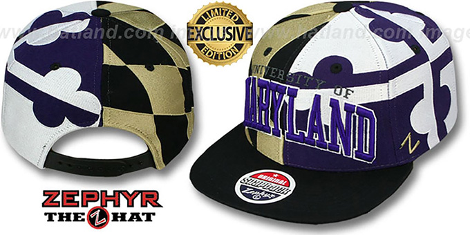 Maryland 'SUPER-FLAG SNAPBACK' Black-Gold-Purple Hat by Zephyr : pictured without stickers that these products are shipped with