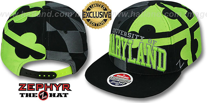 Maryland 'SUPER-FLAG SNAPBACK' Black-Grey-Lime Hat by Zephyr : pictured without stickers that these products are shipped with