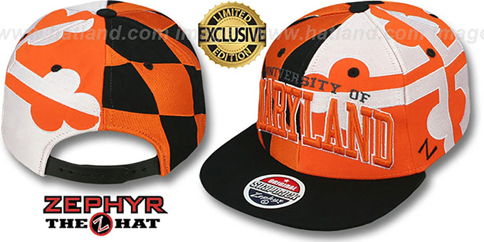 Maryland 'SUPER-FLAG SNAPBACK' Black-Orange-White Hat by Zephyr : pictured without stickers that these products are shipped with