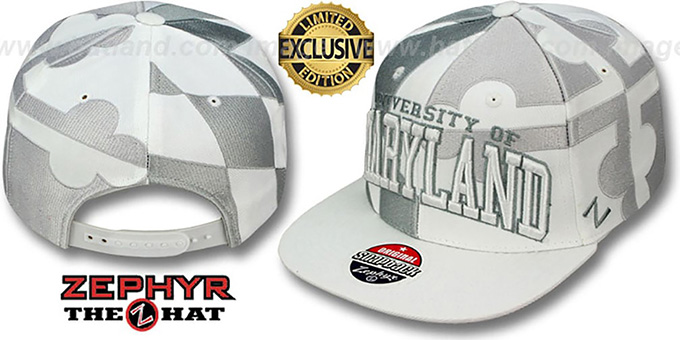 Maryland 'SUPER-FLAG SNAPBACK' Grey-White Hat by Zephyr : pictured without stickers that these products are shipped with