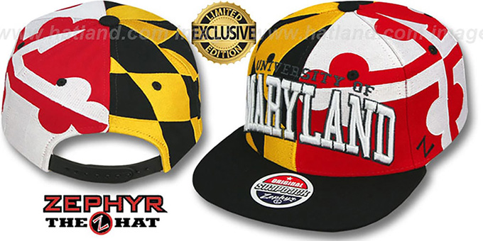 Maryland 'SUPER-FLAG SNAPBACK' Hat by Zephyr : pictured without stickers that these products are shipped with