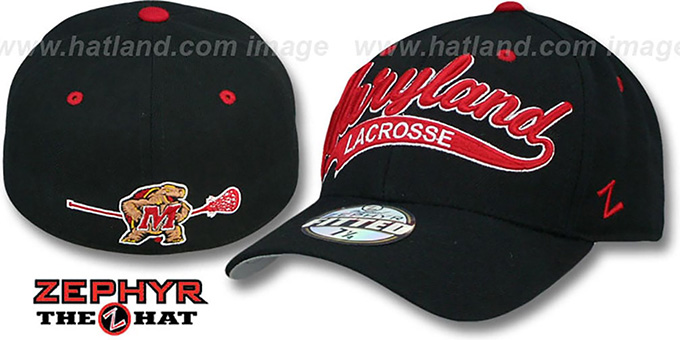 Maryland 'SWOOP LACROSSE' Black Fitted Hat by Zephyr : pictured without stickers that these products are shipped with