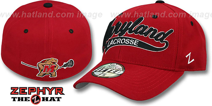 Maryland 'SWOOP LACROSSE' Red Fitted Hat by Zephyr : pictured without stickers that these products are shipped with