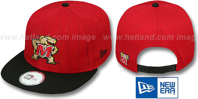 Maryland 'TEAM-BASIC PINSTRIPE SNAPBACK' Red-Black Hat by New Era : pictured without stickers that these products are shipped with