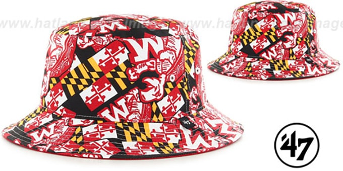 Maryland 'THROWBACK BRAVADO BUCKET' Black Hat by Twins 47 Brand : pictured without stickers that these products are shipped with