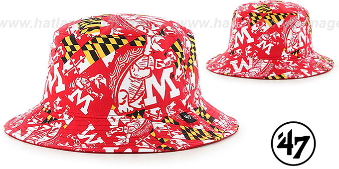 Maryland 'THROWBACK BRAVADO BUCKET' Red Hat by Twins 47 Brand : pictured without stickers that these products are shipped with