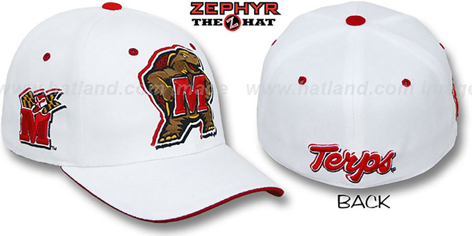 Maryland 'TRIPLE-WHITE' Fitted Hat by Zephyr : pictured without stickers that these products are shipped with