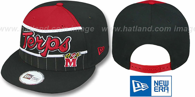 Maryland 'WARM-UP SNAPBACK' Black-Red Hat by New Era : pictured without stickers that these products are shipped with