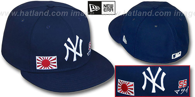 Matsui 'TRIPLE THREAT' Navy Fitted Hat by New Era : pictured without stickers that these products are shipped with