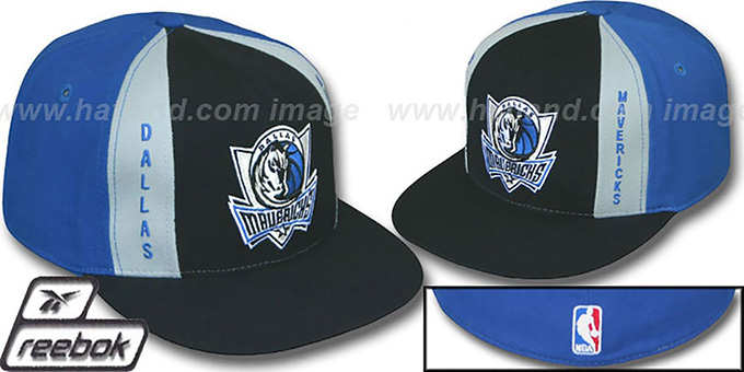 Mavericks 'AJD PINWHEEL' Black-Blue Fitted Hat by Reebok : pictured without stickers that these products are shipped with