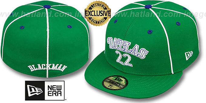 Mavericks BLACKMAN 'TEAM-UP' Green Fitted Hat by New Era : pictured without stickers that these products are shipped with