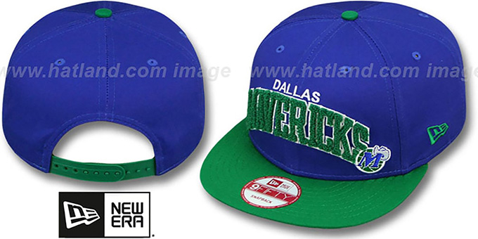 Mavericks 'CHENILLE-ARCH SNAPBACK' Royal-Green Hat by New Era : pictured without stickers that these products are shipped with
