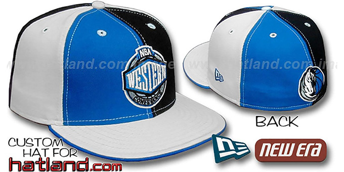 Mavericks CONFERENCE 'PINWHEEL' Blue-Black-White Fitted Hat : pictured without stickers that these products are shipped with