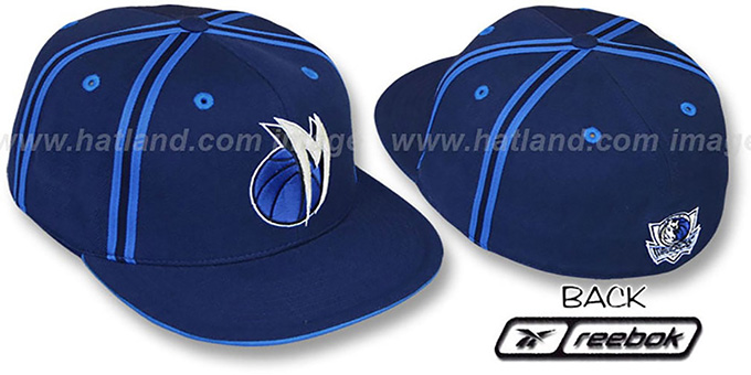 Mavericks 'DOUBLE DRIBBLE' Fitted Hat by Reebok - navy : pictured without stickers that these products are shipped with