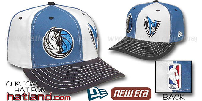 Mavericks 'DOUBLE WHAMMY' Blue-White Fitted Hat : pictured without stickers that these products are shipped with