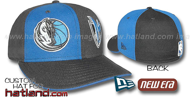 Mavericks 'DOUBLE WHAMMY' Royal-Black Fitted Hat : pictured without stickers that these products are shipped with